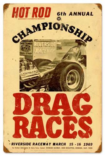 Vintage-Retro Hot Rod Magazine championship Drag Races Metal-Tin Sign