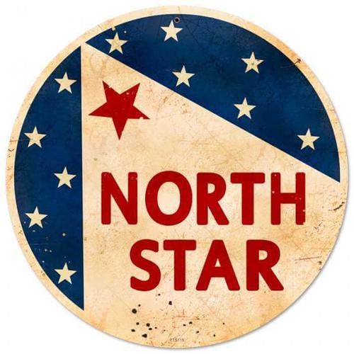 Retro North Star Gasoline Metal Sign 14 x 14 Inches
