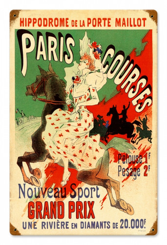 Vintage-Retro Paris Hippodrome Tin-Metal Sign