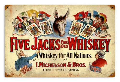 Retro Five Jacks Whiskey Metal Sign 18 x 12 Inches