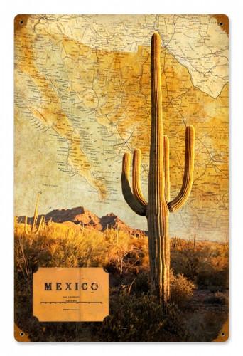 Vintage-Retro Mexico Map Tin-Metal Sign