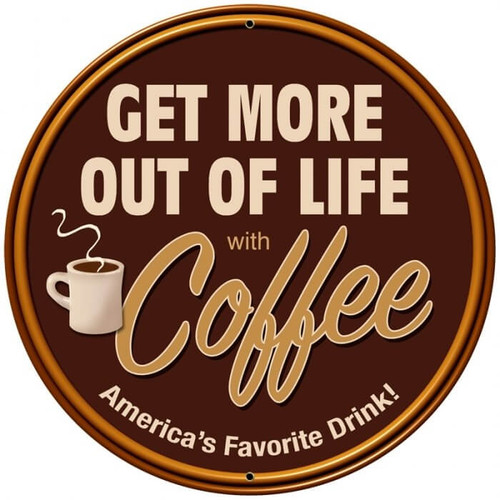 Retro Coffee Round Metal Sign 28 x 28 inches