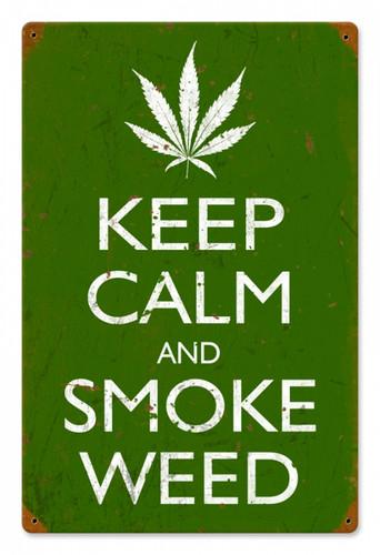Vintage-Retro Keep Calm and Smoke Tin-Metal Sign