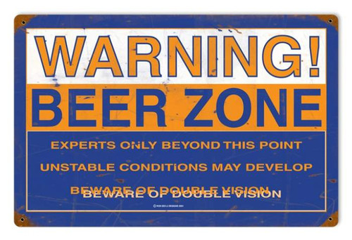 Retro Beer Zone Metal Sign 18 x 12 Inches