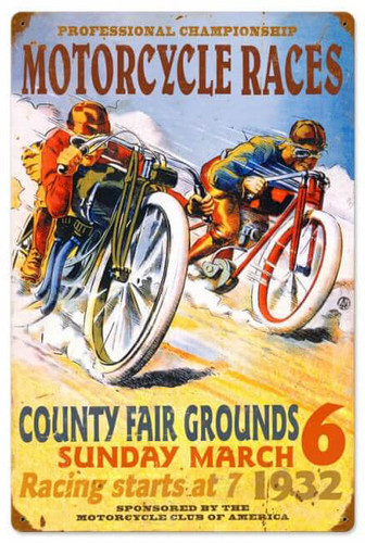 Retro Pro Motorcycle Races Metal Sign 16 x 24 Inches