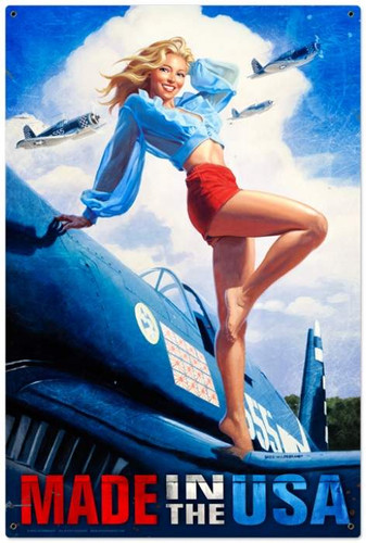 Retro Made in the USA  - Pin-Up Girl Metal Sign 24 x 36 Inches