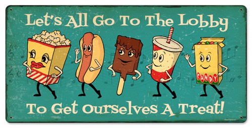 Vintage Snacks Go To Lobby To Get Ourselves A Treat Metal Sign 24 x 12 Inches