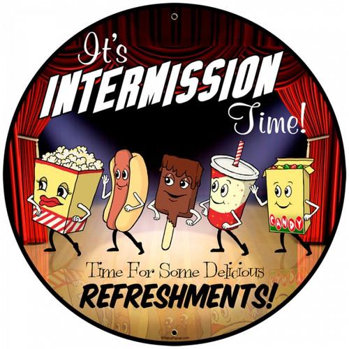 Vintage Snacks Intermission Time Metal Sign