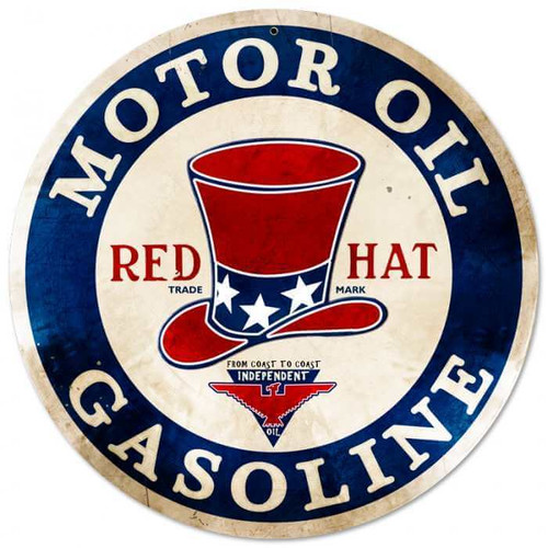 Retro Red Hat Gasoline Metal Sign 14 x 14 Inches