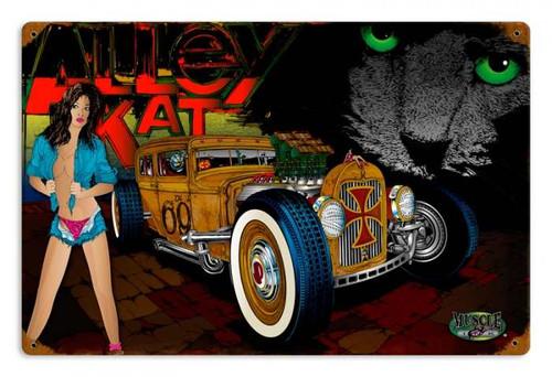 Vintage Rat Rod Alley Cat Metal Sign