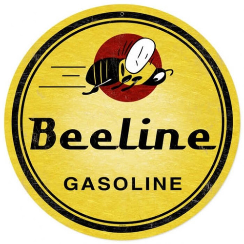 Retro Bee Line Gasoline Metal Sign 14 x 14 Inches