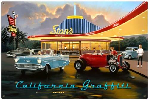 Retro California Graffiti Metal Sign 36 x 24 Inches