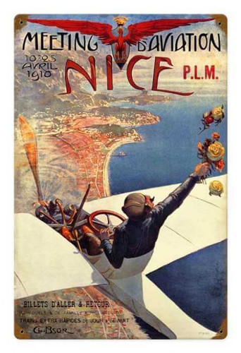 Vintage  Nice Air Show Metal Sign  18 x 12 Inches