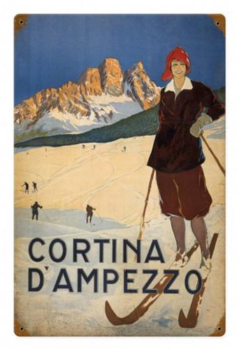Vintage  Cortina Ski Metal Sign  18 x 12 Inches