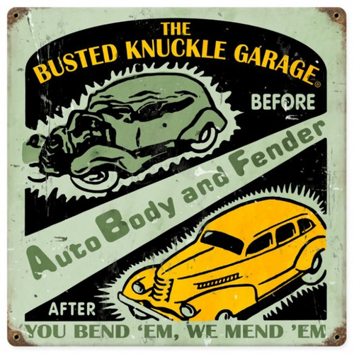 Vintage  Auto Body Shop Metal Sign 12 x 12 Inches