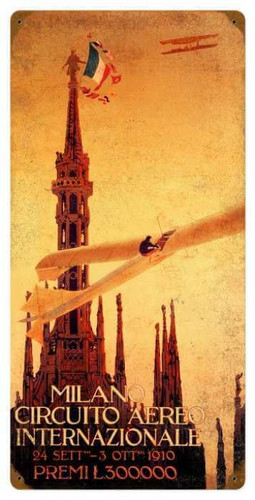 Vintage  Milan Air Show Metal Sign 12 x 24 Inches