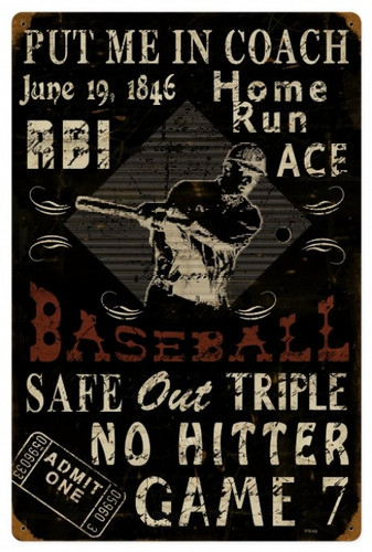 Vintage  Baseball Metal Sign 16 x 24 Inches