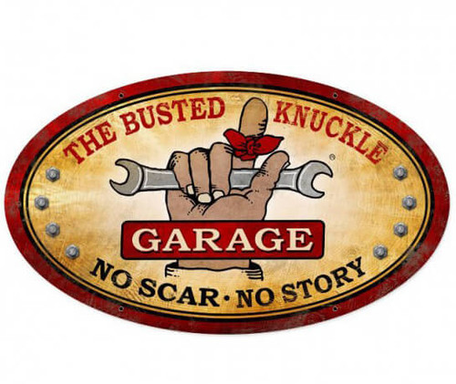 Vintage  Busted Knuckle Garage Metal Sign 24 x 14 Inches