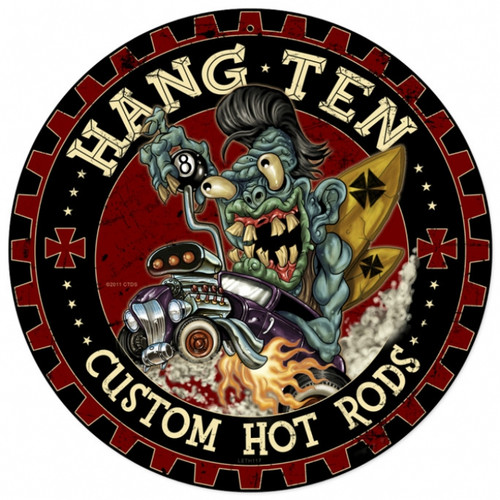 Retro Hot Rod Monster Metal Sign 14 x 14 Inches