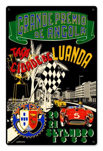 Vintage Angola Grand Prix 12 x 18 inches Tin Sign