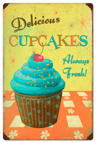 Retro Cupcake Delicious Tin Sign 16 x 24  Inches