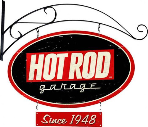 Retro Hot Rod Garage Double Sided Oval Metal Sign with Wall Mount   24 x 14 Inches