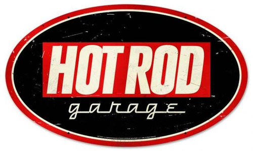 Retro Hot Rod Garage Oval Metal Sign 24 x 14 Inches