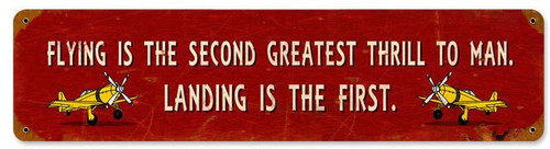 Vintage Greatest Thrill Metal Sign 20 x 5 Inches Inches