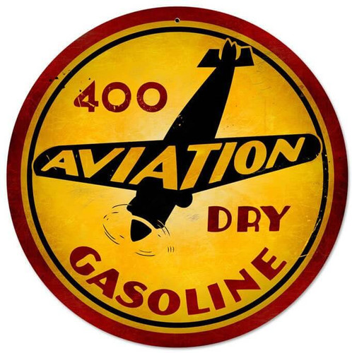 Vintage Aviation Gasoline Metal Sign 14 x 14 Inches Inches