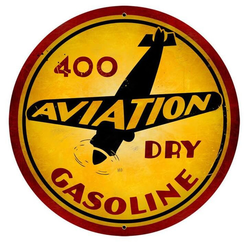 Vintage Aviation Gasoline Metal Sign 28 x 28 Inches