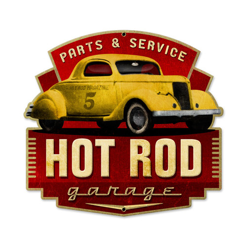 Retro Hot Rod Parts and Service Tin Sign 17 x 16 Inches