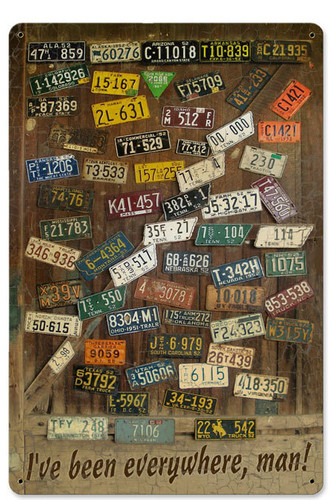 Vintage License Plates Tin Sign 12 x 18 Inches