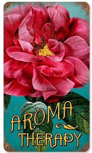 Retro Aroma Therapy Metal Sign   8 x 14 Inches