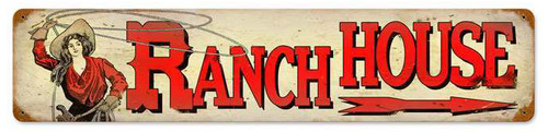 Retro Ranch House Metal Sign  28 x 6 Inches