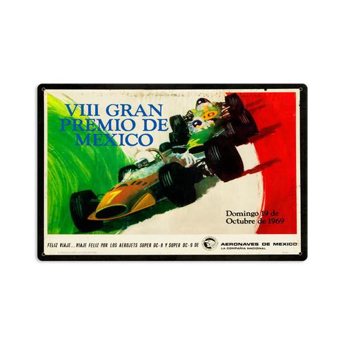 Retro Mexico Grand Prix Metal Sign  18 x 12 Inches
