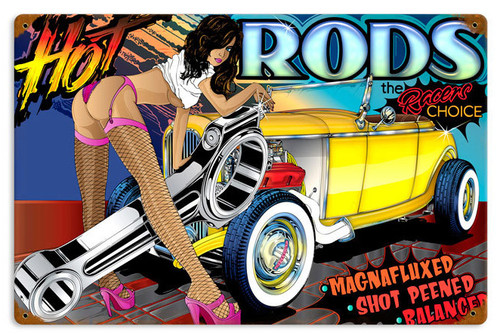 Retro Rat Rod Hot Rods Tin Sign 18 x 12 Inches