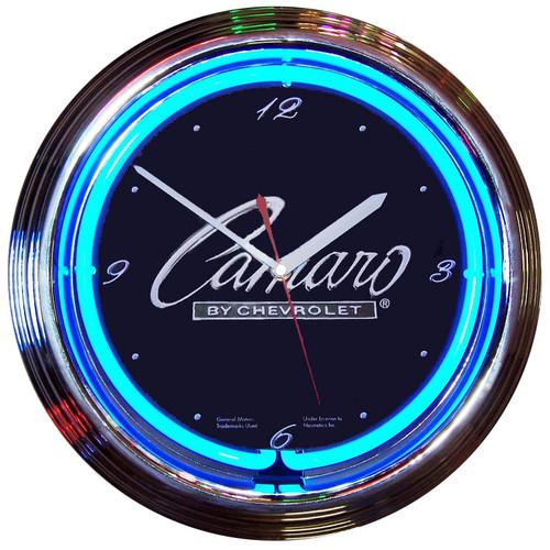 Retro GM CAMARO SCRIPT NEON CLOCK 15 x 15 Inches