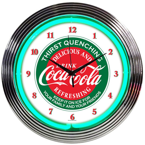 Retro COCA-COLA® EVERGREEN NEON CLOCK 15 x 15 Inches