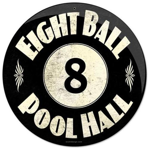 Vintage-Retro 8 Ball Pool Hall Round Metal-Tin Sign
