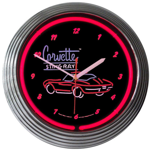 Retro Corvette Sr Neon Clock 15 X 15 Inches