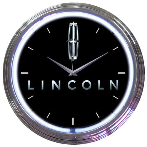 Retro FORD LINCOLN NEON CLOCK 15 x 15 Inches