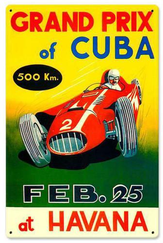 Retro Grand Prix Cuba Metal Sign 12 x 18 Inches