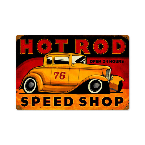 Retro Hot Rod Speed Shop Metal Sign 18 x 12 Inches