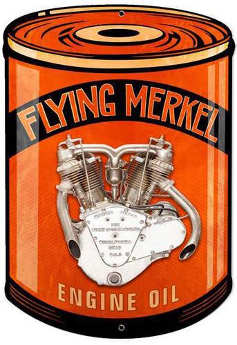 Retro Flying Merkel Metal Sign 14 x 20 Inches