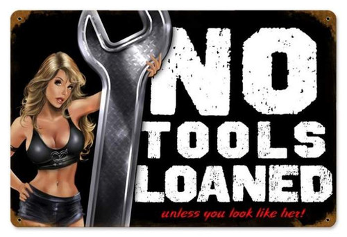 Vintage-Retro No Tools Pinup Metal-Tin Sign