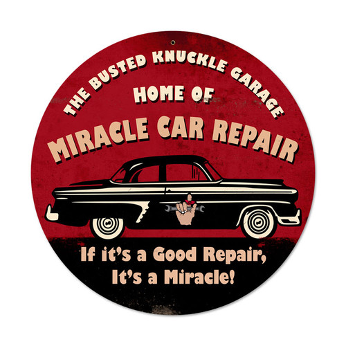 Retro Miracle Car Repair Round Metal Sign  14 x 14 Inches