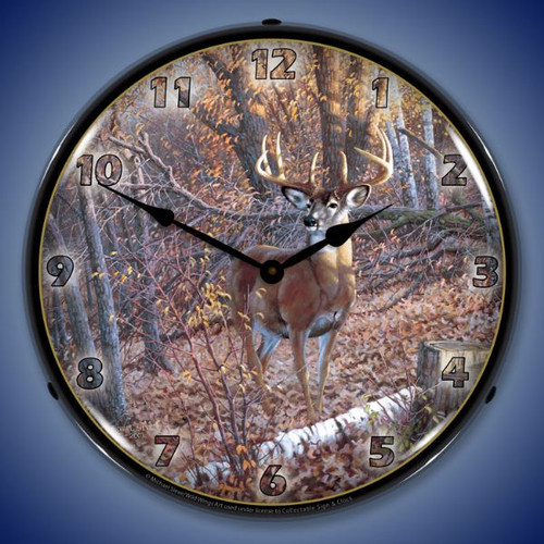 Great Eight Whitetail Deer Lighted Wall Clock 14 x 14 Inches