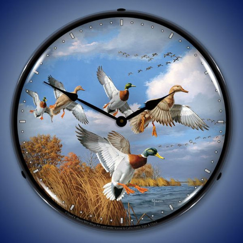 Mallards Lighted Wall Clock 14 x 14 Inches 14 x 14 Inches