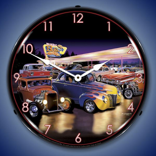 Retro Burger Bobs Lighted Wall Clock