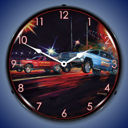 Retro Lift Off Lighted Wall Clock 14 x 14 Inches